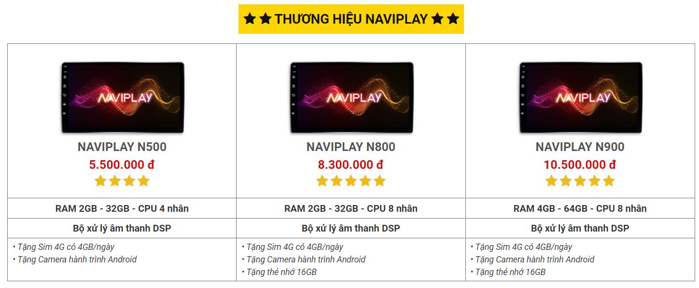 Giá các mã sản phẩm màn hình android NaviPlay